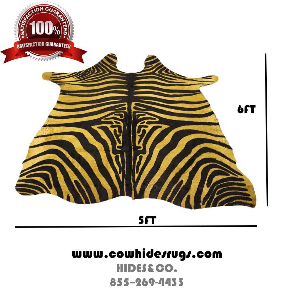 Light Camel Color Zebra Print Cowhide Rug