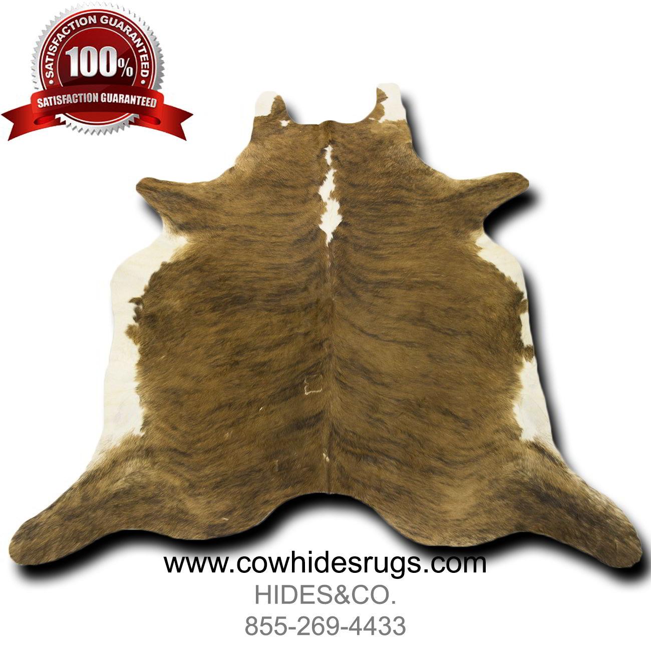 Brown And White Brindle Cowhide Rug 7 8 Ft X 6 6 Ft Natural Genuine Cowhide