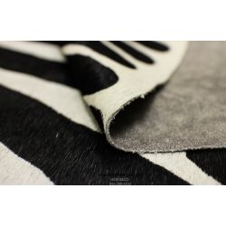 Black and White Zebra Cowhide - 7.2 ft x 6.1 ft - Animal Print - Genuine Cowhide