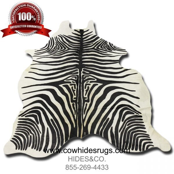 Black and White Zebra Cowhide - 7.2 ft x 6.1 ft