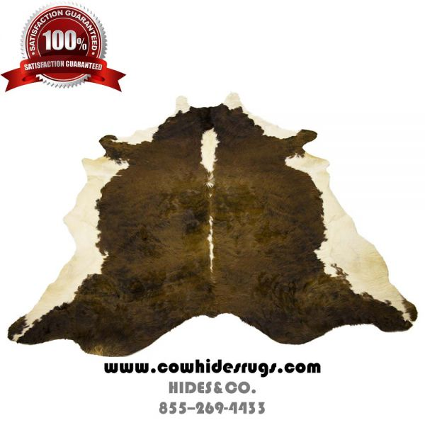 Dark Brown and White Cowhide